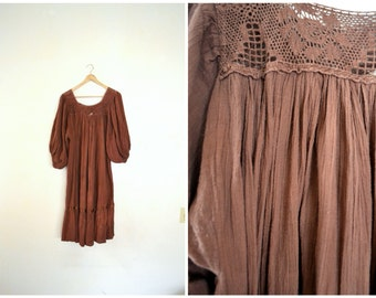 Vtg 70's Brown Cotton Dress