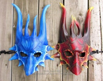 Fire Red and Ice Blue Dragon Duo!! Perfect for Halloween, LARP costume, Theater Prop, Garb, Accessory, Animal Mask, Fantasy Mask