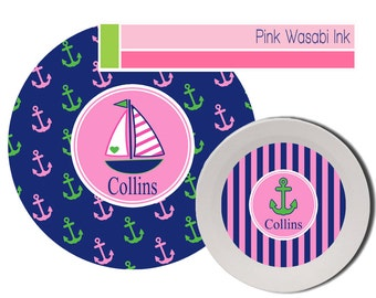 Plate and Bowl Set, Personalized Kids Melamine Dishes, Preppy Dinnerware for Girls, Kids Melamine Dishes