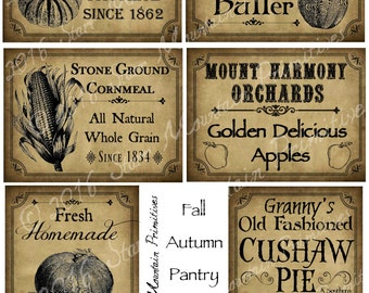 Primitive Autumn Fall Apple Pumpkin Cushaw Harvest Pantry Logo Labels Jpeg Digital File Crock, Jar, Pillows, Dolls, Ornies, Crates, Boxes