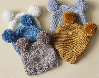 CHOOSE YOUR COLORS kid or adult  bear knited hat with two pompoms