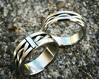 """His & Her's """"BREGDAN"""" set muliple options available  (hypoallergenic- handmade) stainless steel rings limited edition collection"""