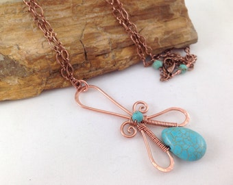 Copper and Crystal Wire Wrapped turquoise necklace, boho fashion, turquoise jewelry, copper healing jewelry