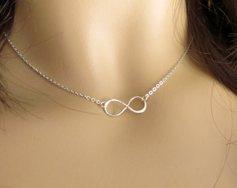 Infinity  Sterling Silver Necklace. Infinity Necklace. Sterling Silver Pendant Necklace. Choker.