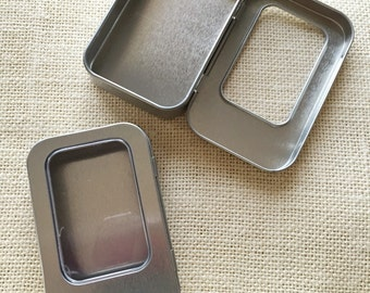 Rectangular Tins with Windows, 6-pack. Perfect for party favors, small gifts, organizing small craft supplies, etc.