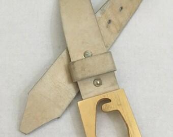 Vintage Natural Fullgrain Cowhide Leather Belt Brass Buckle M/L 38-40