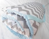 "Nap Mat Preschool Toddler Kindergarten Day Care Blanket Pillow Cover Plush Blue Minky Chevron Kindermat Monogrammed Boys Kids 20"" x 49"""