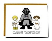 Funny Star Wars birthday card - HAPPY BIRTHDAY dad, Darth Vader, Luke, Leia