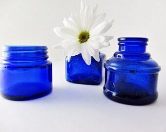Cobalt Blue Bottles Vintage Antique Instant Collection Ink Bottles Noxzema Glass