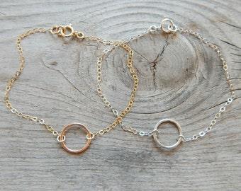 Circle Bracelet, Gold Circle Bracelet, Dainty gold bracelet, Eternity, Layering bracelet, Bridesmaid bracelet