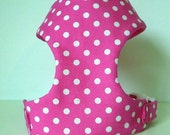 """Sale 50% Off Pink & White Polka Dot Soft Dog Harness """"Katie"""" - Soft on Your Dogs Skin - Available in all Fabrics Listed Under Co"""