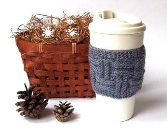 SALE - 10% OFF. Knit Coffee Cup Cozy. Knitted Cup Cozy. Hand Knit Tea Cup Cosy. Pick Your Color.