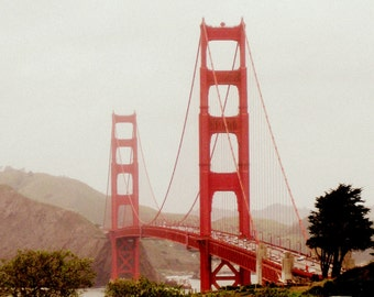 San Francisco Photography, Golden Gate Bridge Photograph Print. California Photo. Home Decor. Dreamy. Vintage. Romantic. Architecture. Red.