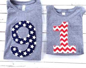 Any Big Number Birthday Shirt boys 1st birthday red white blue American Flag USA America stars stripes Triblend grey 4th of July Military