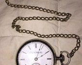 Victorian ELGIN Pocketwatch 1895 15 Jewel 20 Year Silveroid Pocket Watch Size 18 Sold AS IS