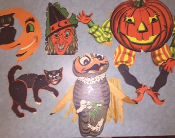Antique Halloweeen Decorations Articulated 1930s-50s Scaredy Cat Huge Moveable Jack 'O Lantern Witch Owl Cat in Crescent Moon
