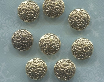 8 Decorative Gold Plastic  Buttons- 5/8 in