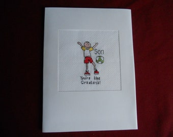 """Cross stitch Card - """"Son, You're the Greatest"""""""