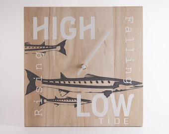 Tide Clock  - Unique Gift for Him -  Beach Chic -Surf Fish