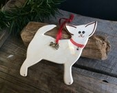 Chihuahua Dog Ornament,  Chihuahua ornament, Handmade pottery Dog Ornament, New Puppy Ornament, 2015 dog ornament