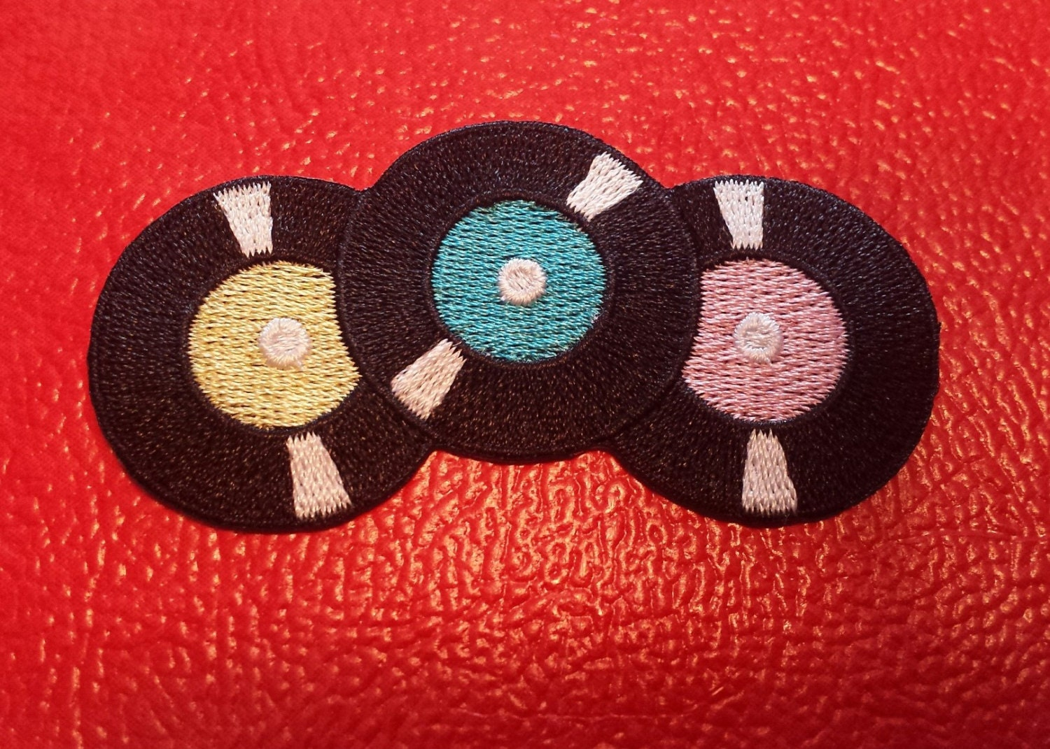 Records embroidered patch iron on applique by