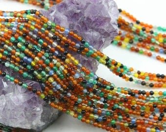 Lot of 5 strands 2mm Mixed Color Agate (N) Loose Spacer Beads Round 15.5 inch strand (BD5953)