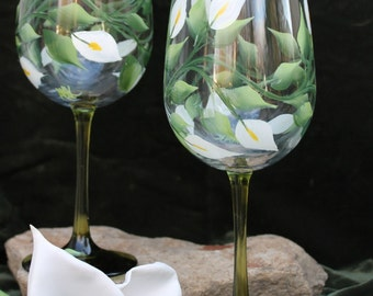 Hand Painted Wine Glasses - White Peace Lily on Green Stem Glasses (Set of 2)