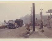 Vintage Kodacolor Snapshot Photo, 1962: Gas Station, Traffic (68494)