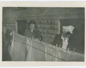 Women Hanging Laundry, 1940s: Vintage Snapshot Photo (67484)