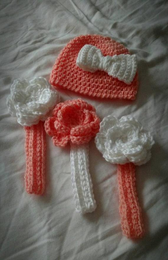 Baby girl gift set, crochet hat, crochet headbands, photo prop
