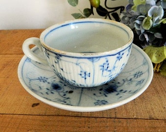 Antique Samson France Meissen Style Teacup and Saucer Blue and White