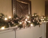 Christmas Garland, White & Silver Berries, Silver Leaf Garland, Mantle Garland with Lights, Christmas Decor, Fireplace Swag, Doorway Garland