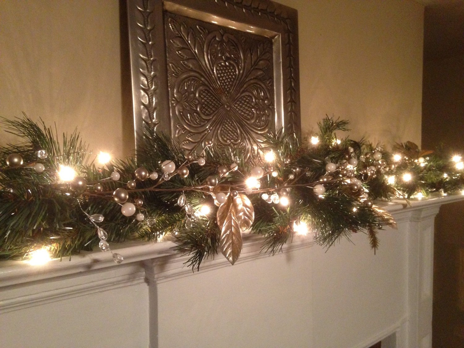Christmas garland white silver berries silver leaf for Christmas garland on fireplace