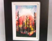 Embroidered Picture, Landscape Embroidery Framed, Small Artwork, Silk Painted Embroidered Landscape, Stitched Landscape, Forest Fire Image