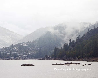 Mountains Photography, Nature Landscape Art, Winter Fog, Lake in the Sierra Nevada, California, White, Ethereal, Beautiful Nature, Large Art