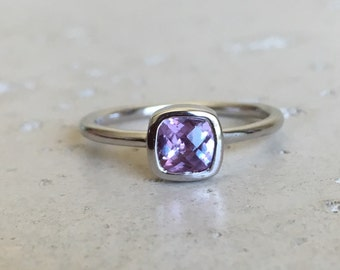 Color Change Alexandrite- Tiny Stackable Ring- Square Sterling Ring- Gemstone Silver Ring-