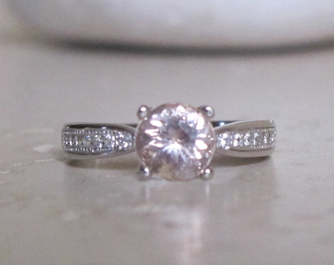 Solitaire Morganite Engagement Ring- Wedding and Promise Ring for her- Engagement Ring- CZ accent Morganite Ring- Round Cut 7mm Silver