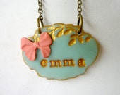 Personalized Junior Bridesmaid necklace, Emma Necklace, Ribbon, Girl, Name, Aqua Coral wedding, big sister gift, Girl Birthday favor, Lovely