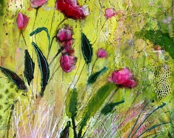 "Pink Flowers in green field titled ""A New Start"" original mixed media collage on canvas by Terri Chaney"