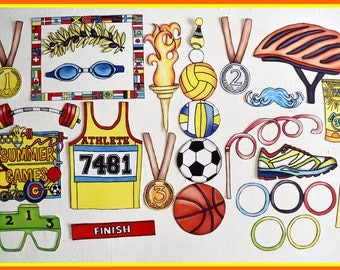 READY MADE Olympic Inspired summer games photo booth props -for your Olympic Games summer party or to celebrate your nation or favorite team