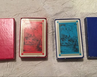 Vintage 1950s (2 Complete Sets) Deck of Playing Cards with 2 Jokers, Red & Blue Set, Well Used Sets in Original Boxes