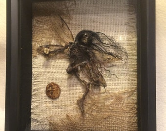 Made to order - ooak realistic pixkie dead Tooth Fairy dragonfly wings Fantasy miniature doll art goth dollhouse sideshow gaff Hoax joke
