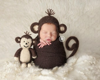 Baby Monkey Bonnet and Tail Photo Prop, Knitted, MADE TO ORDER