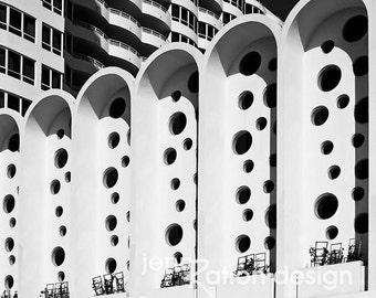 Miami Fontainebleau Hotel, Mid-Century Modern, Miami Beach, MiMo, South Beach, Morris Lapidus, Art Deco Black & White Photography Print