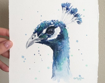 Peacock Watercolor Painting, Pracock Art, Peacock Illustration, Exotic Birds Illustration, Original Art by Olga Shvartsur 7.5x7.5
