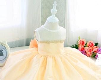Fancy Yellow Sashless Toddler Pageant Dress, Flower Girl Dress Tutu, Birthday Dress Baby,PD042-2