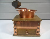 Vintage Coffee Grinder, Copper and Wood Coffee Grinder, Farmhouse, Country, Rustic, Traditional