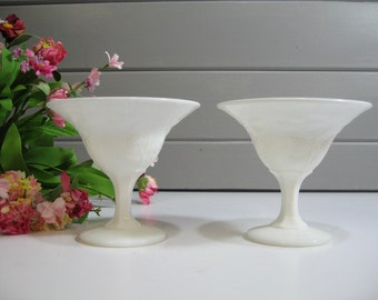 Milk Glass Goblet, Champagne Coupes, Wedding Toast, Set of Two