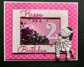 Pink Heart Happy Birthday Shaker Card - Happy Birthday Card - Shaker Card - Number Birthday Card - Zebra Card