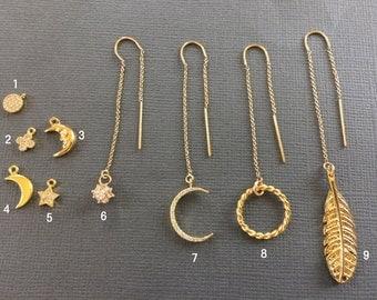 Gold Ear Thread Earrings, mix match Ear Threader Earrings, Minimal Jewelry, Long Gold Dangle Earring, Star earrings, Crescent Moon, muse411